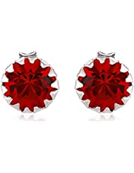 Om Jewells Sterling Silver Red Scarlet Magic Earrings With CZ Stones ER7000121