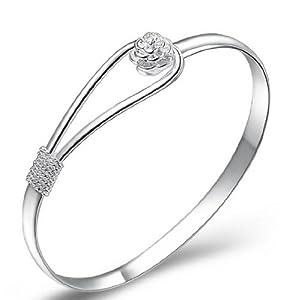 Argent à pince- bouton Conception florale de style bracelet classique 18 carats en or blanc plaqué élégant Bijoux