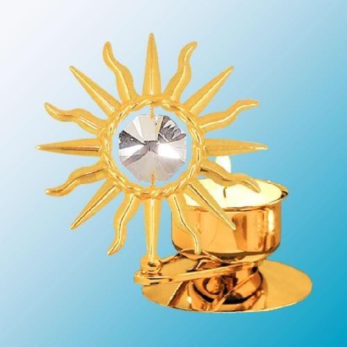 Sunburst Tea-Light..... With Clear Swarovski Austrian Crystal front-469877