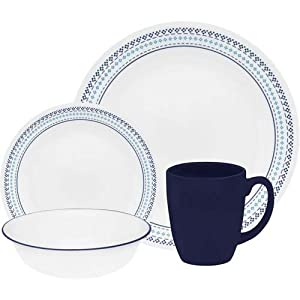 Corelle Livingware Folk Stitch 16 Piece Dinnerware Set