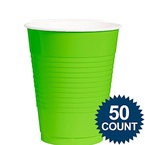 Amscan Big Party Pack 50 Count Plastic Cups, 12-Ounce, Kiwi