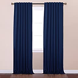 Best Home Fashion Thermal Insulated Blackout Curtains - Back Tab/ Rod Pocket - Navy - 52\