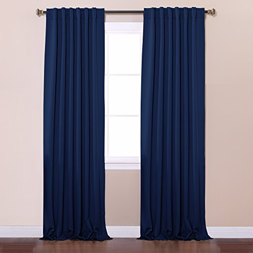 Best Home Fashion Thermal Insulated Blackout Curtains Back Tab Rod Pocket Navy 52 W X 84