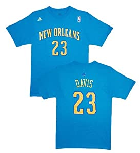 New Orleans Hornets Anthony Davis Blue Name and Number T-Shirt by adidas