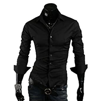 2012 Hot Sale Long Sleeve Mens/male Casual Fashion Slim Stylish Shirts/clothing,10 Color (COLOR : BLACK)