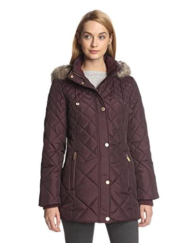 London Fog Women's Quilted Coat with Faux Fur