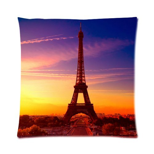 """Paris Eiffel Tower Beautiful Sunset View Custom Zippered Pillow Cushion Case Throw Pillow Covers 16""""X16""""(Two Sides) front-850302"""