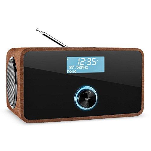auna Sheffield mocca Retro-Radio DAB Radiowecker mit 2 Weckzeiten (DAB /DAB+, UKW-Radiotuner, 2 Alarme, Netz- und Batterie-Betrieb, Vintage-Look) mocca