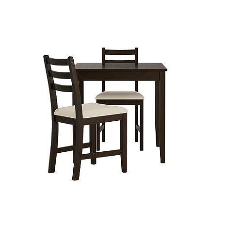 IKEA LERHAMN Tisch und 2 Stühle, schwarz braun, Ramna