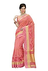 Laethnic orange floral design chanderi saree