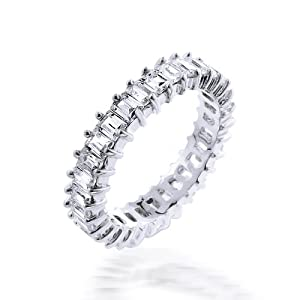 Bling Jewelry Baguette Cut Diamond Cz Eternity Wedding Band Ring