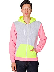 American Apparel Flex Fleece Color Block Zip Hoodie - Dark Ash / Neon Yellow / Neon Pink / XXS