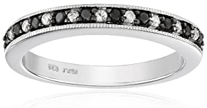 Sterling Silver Black and White Diamond Band Ring (1/4 cttw, I-J Color, I3 Clarity), Size 7