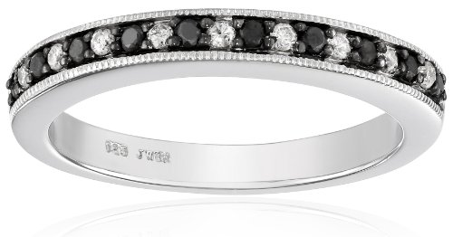 Sterling Silver Black and White Diamond Band Ring (1/4 cttw, I-J Color, I3 Clarity), Size 6