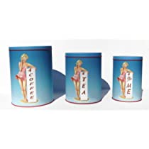 50s Style Pin-up Girl Coffee Tea or Me Themed Kitchen Canister Set