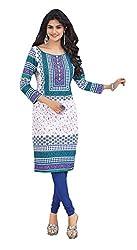 Stylish Girls Women Cotton Printed Unstitched Kurti Fabric (DT115_White_Free Size)