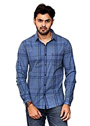 Rafters indigo blue check, full sleeves men's slim fit casual shirt