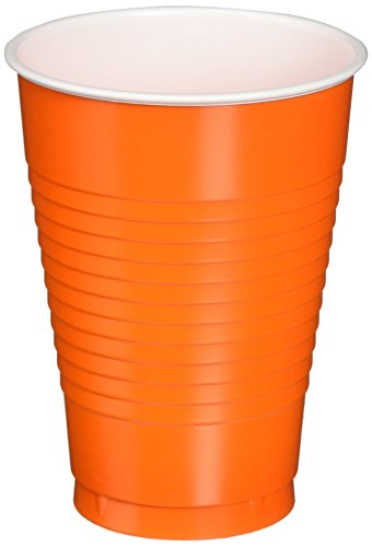 Amscan Big Party Pack 50 Count Plastic Cups, 12-Ounce, Orange