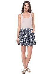 Printed Blue Skater Skirt