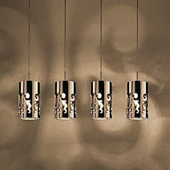 Makenier Uk Pendant Light With 4 Lights In Steel Amazon