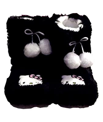 Hello Kitty Face Black and White Child Shaggy Boot Slippers with White Pom Poms (Child - Medium (7-8))