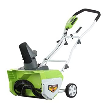 The Greenworks 20-Inch 12 Amp Electric Snow Thrower is an easy-to-use alternative to gas-powered snow throwers. Using a 12 amp motor, it clears a 20-inch path in snow up to 10 inches deep, and discharges snow up to 20 feet away. You can discharge sno...