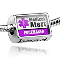 "Neonblond Beads Medical Alert Purple ""Pacemaker"" - Fits Pandora Charm Bracelet from NEONBLOND Jewelry & Accessories"