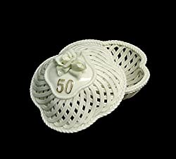 50th Wedding Anniversary White Porcelain Keepsake Trinket Box #42653