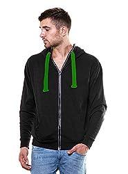 Enquotism Solid Black Zipper Hoodie Sweatshirt