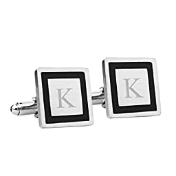 Cathy\'s Concepts Personalized Black Border Designer Cuff Links, Monogrammed Letter K
