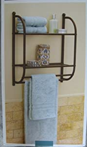 Bronze 2 tier wall shelf with towel bars - 2 tier bathroom shelf with towel bar ...