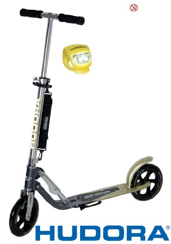 Hudora Scooter / Roller / Cityroller Big Wheel MC / RX 205 mit LENKERLICHT (ANTHRAZIT GOLD)