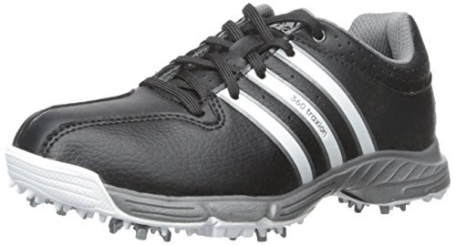 adidas JR 360 Traxion Golf Cleated (Little Kid/Big Kid), Core Black/FTWR White/Iron Metallic, 5.5 M US Big Kid