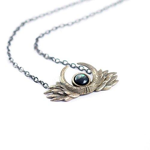 """Rogue """"e il lupo"""" """"Moonrise-Collana in acciaio INOX, motivo Gothic jewellery 3D"""