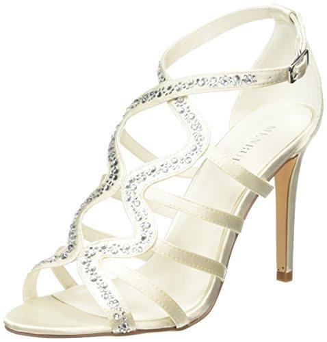Menbur WeddingJosefina - Sandali con Cinturino alla Caviglia donna , Bianco (Bianco (Ivory)), 40