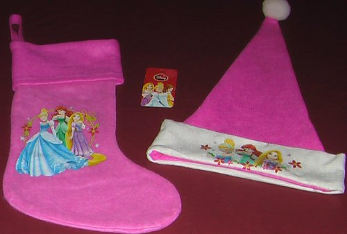Disney Pink Princess Full Size 18inch Stocking and Santa Hat