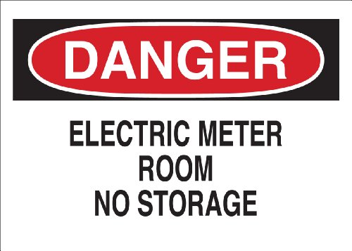 "Brady 84865 Self Sticking Polyester Electrical Hazard Sign, 7"" X 10"", Legend ""Electric Meter Room No Storage"""