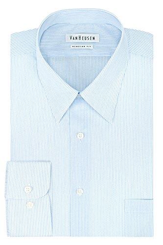 Van Heusen Men's Regular Fit Stripe Cutaway Collar Dress Shirt, Glacier, 17