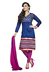 SR Women's Cotton Unstitched Dress Material blue top rani bottom duptta