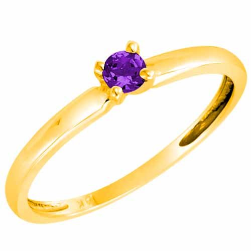 DivaDiamonds 18ct Yellow Gold Round Solitaire Amethyst Ring (0.25 ctw) - Size Q
