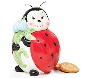 Adorable Ladybug Cookie Jar Food Storage For Kitchen Decor And Collections by Burton & Burton