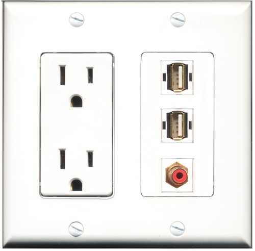 Riteav - 15 Amp Power Outlet 1 Port Rca Red 2 Port Usb A-A Decora Wall Plate