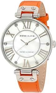 Anne Klein Women's 10/9919MPOR Leather Silver-Tone Orange Leather Strap Watch