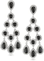 Big Sale Sterling Silver Diamond Dangle Black Enamel Earrings (1/2 cttw, I-J Color, I3 Clarity)