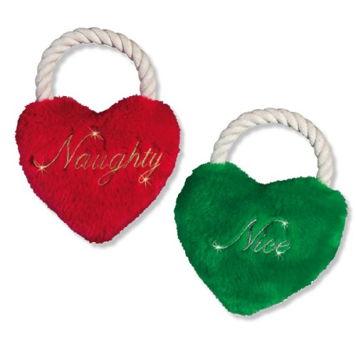 Holiday Heart Tug Plush Dog Toys w Squeaker and Rope