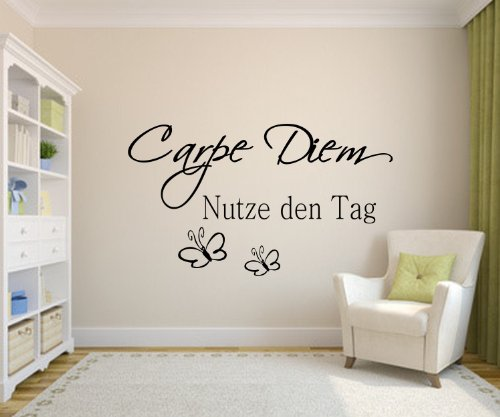 nr 5 wandtattoo carpe diem wandtattoo nutze den tag in 21 farben w hlbar gr e 60cm x 35cm. Black Bedroom Furniture Sets. Home Design Ideas