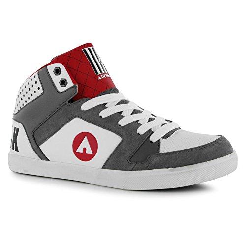 Airwalk Roxbury Mid Top Skate Scarpe da uomo bianco/grigio/rosso casual scarpe sneakers, White/Grey/Red