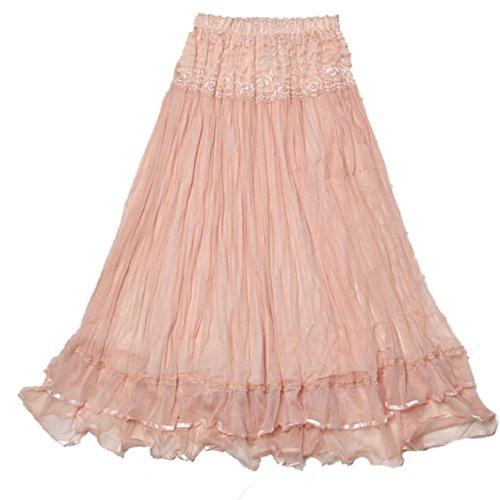 DEHANG Womens Boho Lace Gauze Double Layer Elastic Waist Long Maxi Skirt - Pink