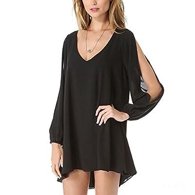 Yonger Women Off Shoulder V-neck A-line Mini Strapless Loose Casual Dress