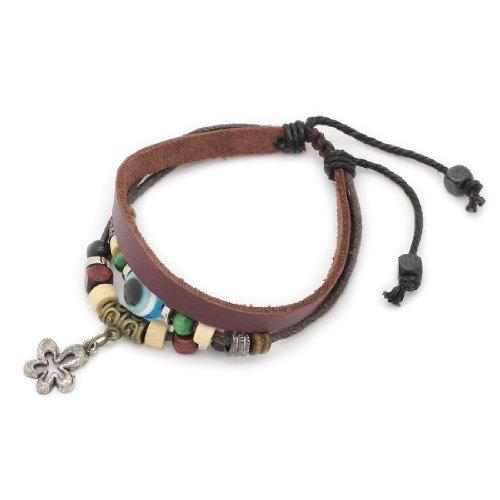 3-Strand Genuine Leather Adjustable Wristband / Bracelet with Eye Bead & Flower Charm